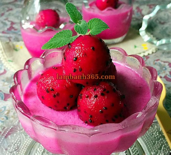 hoc lam pudding thanh long do ngon me ly 1